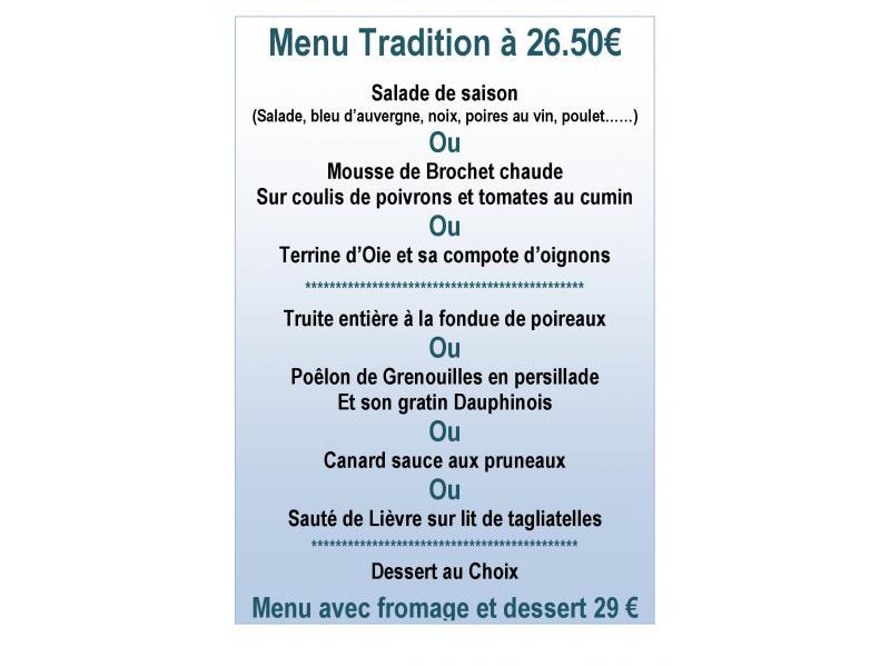 Menu tradition 26.50 €